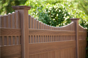 grand illusions walnut woodgrain pvc fence